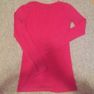 Pink and black polka dot long sleeve shirt